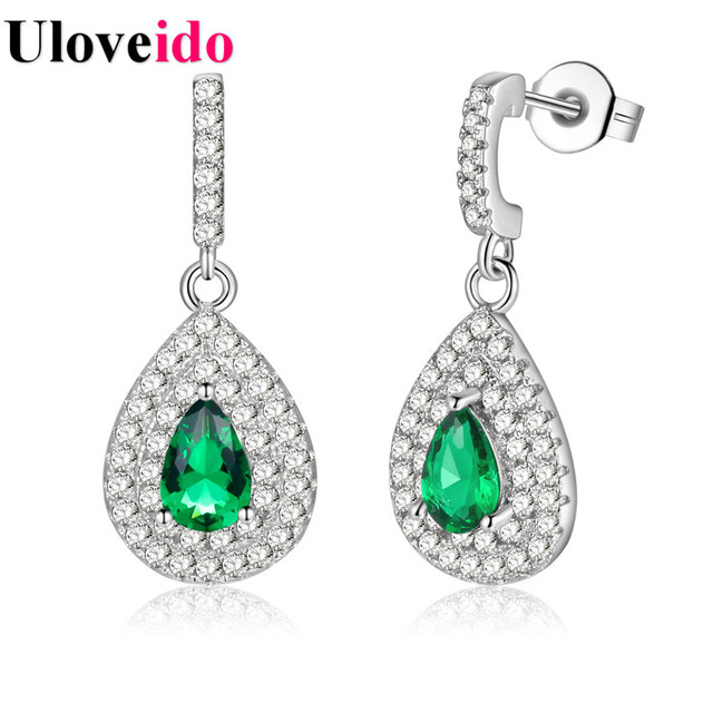 5% Off Uloveido Silver Color Green Earrings for Women Brincos Fashion Para Mulheres boucle d'oreille femme Cute Earring PR4381