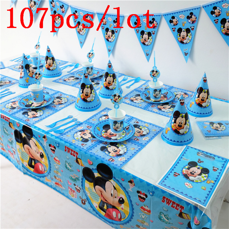 107Pcs/lot Disney Mickey Mouse Theme Gift Bag Blowout Cup Plate Baby Shower Invitation Card Kid Birthday Party Decoration Supply
