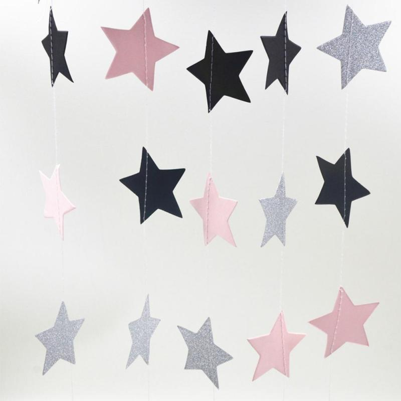 4m Wall Hanging Paper Star Long Birthday String Chain Wedding Party Banner Handmade Kids Room Door Home Decor A45