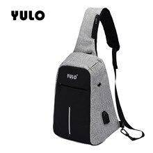 YULO New Anti-thief Crossbody Bag Water Repellent Men Shoulder 9.7 inch Ipad Fashion Chest  USB Recharging Design