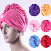 2 Piece Pink 26x62cm Microfiber Fabric Magic Drying Hair Towels Thick Solid Hair- Drying Quick Head Caps Bathroom Wear Pa.an