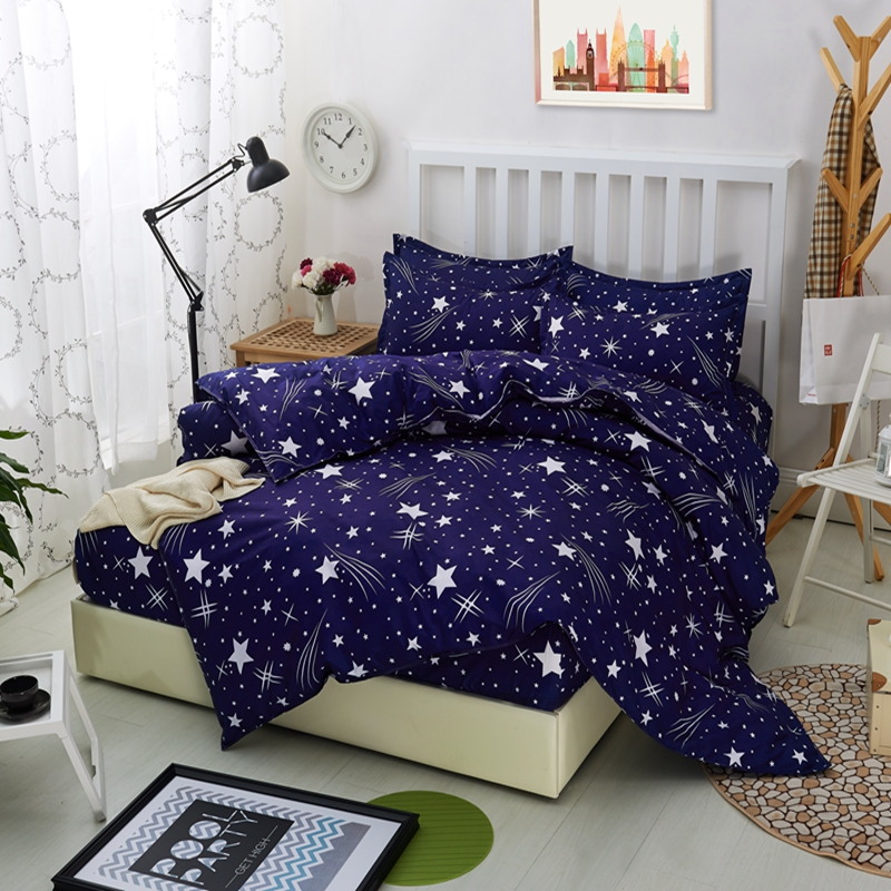New 4pcs Blue Night Sky Printed Bedding Sets King Queen Size High Quality Polyester Bedsheet Pillowcases Bedspreads Duvet Cover