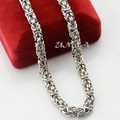 Mens Chain Boys Women 7MM Hip Hop Cool Byzantine Link Silver Tone Stainless Steel Necklace Link Chains 18inch-36inch