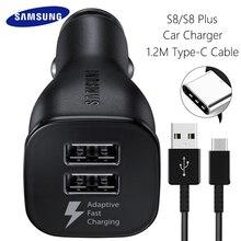 Автомобильное зарядное устройство samsung S8 S9 Plus, быстрое зарядное устройство, адаптер 9V1. 67A и 5V2A, быстрая зарядка 1,2 м, кабель type-C, USB Адаптивная зарядка