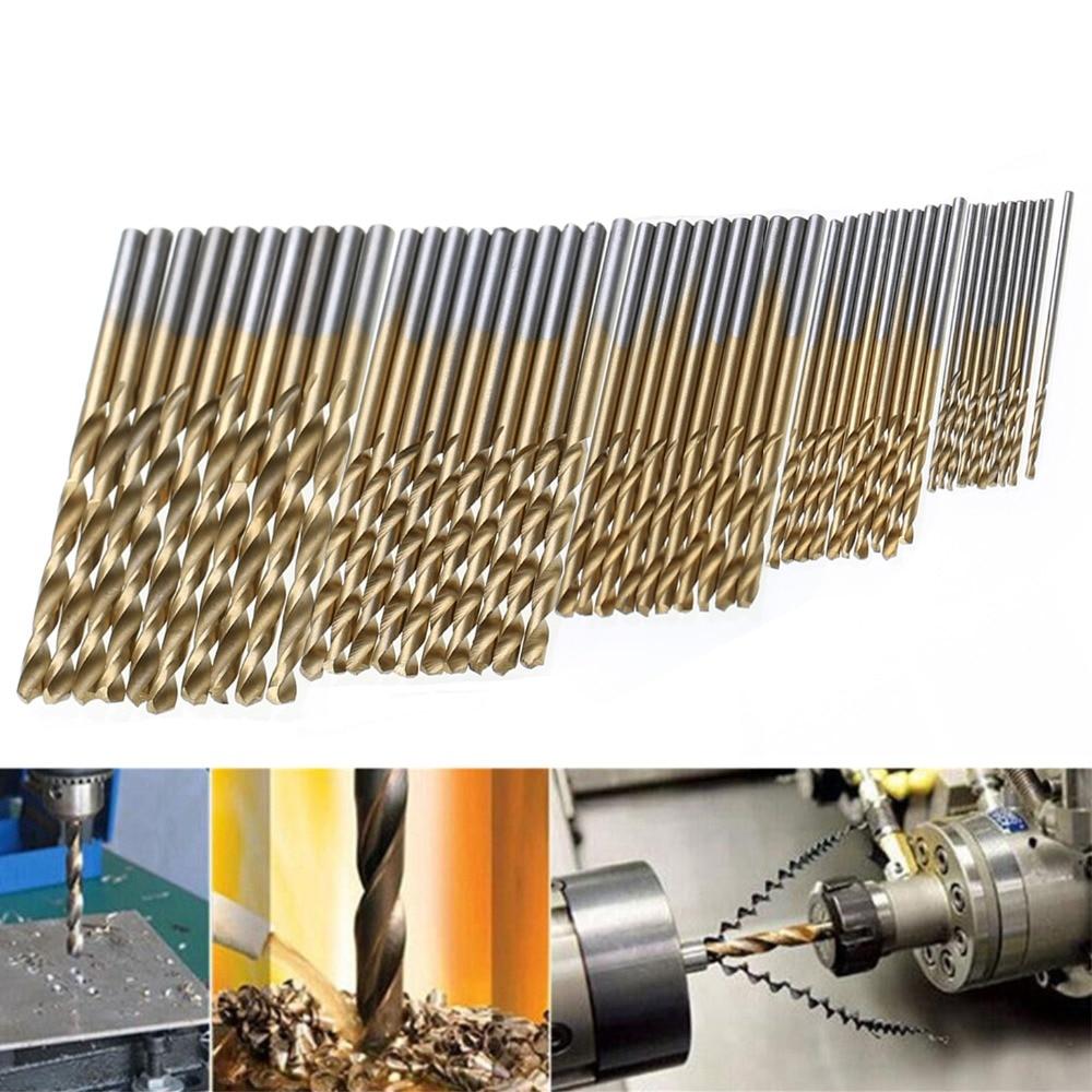 50pcs Titanium Coated HSS Drill Bit Set High Speed Steel Twist Woodworking Drilling Tools  1/1.5/2/2.5/3mm
