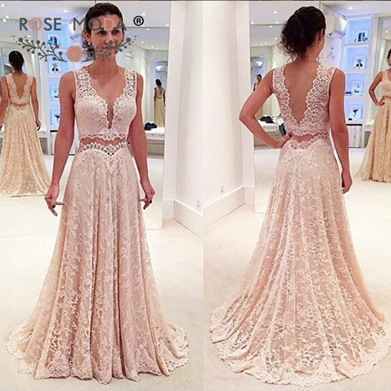 Rose Moda Chantilly Lace Two Pieces   Evening     Dress   Low V Back Floor Length Pink Formal Party   Dress