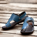 Мужчины сандалии 2016 летние сандалии тенденция двойного назначения кожаные сандалии тапочки мужчины летняя обувь 04