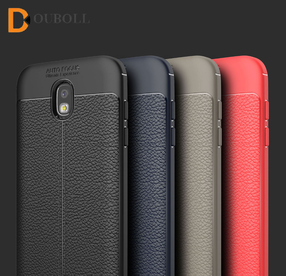 Douboll For Samsung Galaxy J3 J5 J7 Pro 2017 J330 J530 J730 Luxury Litchi Leather Pattern Plain Shockproof Soft TPU Case Cover