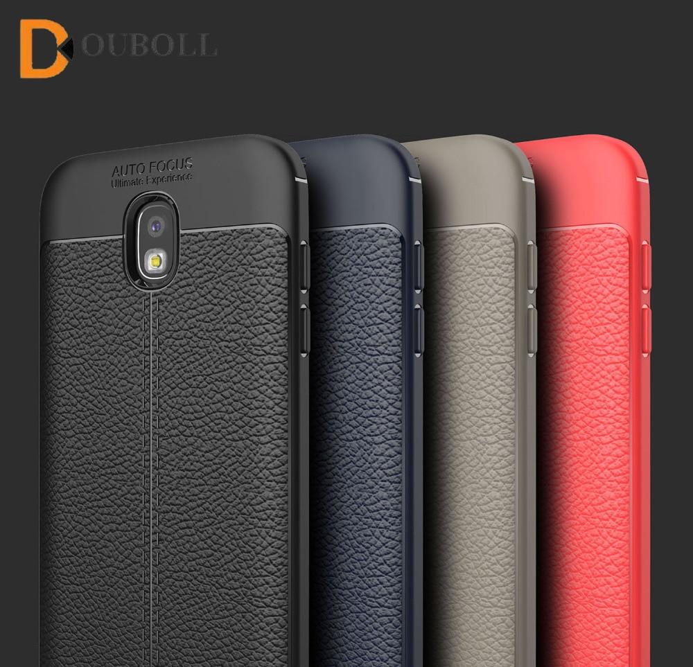 Douboll For Samsung Galaxy J3 J5 J7 Pro 2017 J330 J530 J730 Luxury Litchi Leather Pattern Plain Shockproof Soft TPU Case Cover