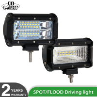 2Pcs 5Inch Car Front Light Led Work Light 72W Driving Beam 8000Lm 6000K For Truck Boat