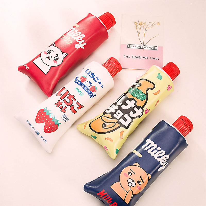 Cute Kawaii Cartoon Cat Bear PU Pencil Case Creative Toothpaste Pencil Bag For Kids Korean Stationery Student 1199