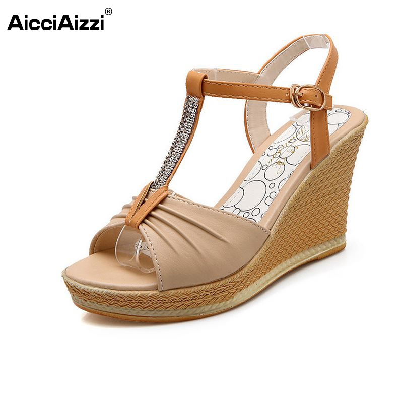 Women Shoes Summer Open Toe Fish Head Fashion High Heels Wedge Sandals Platform sandalias T-Strap Shoes Women Size 35-39 PA00357 women sandals 2017 summer new open toe fish head fashion platform high heels ladies wedge sandals female shoes genuine leather