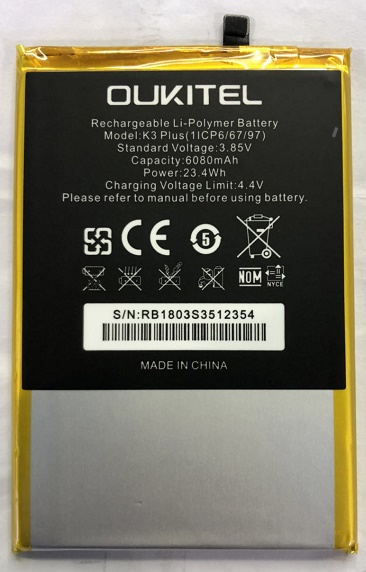 Mobile phone battery OUKITEL K3 PLUS battery 6080mAh Long standby time High capacit OUKITEL Mobile Accessories Mobile phone battery OUKITEL K3 PLUS battery 6080mAh Long standby time High capacit OUKITEL Mobile Accessories