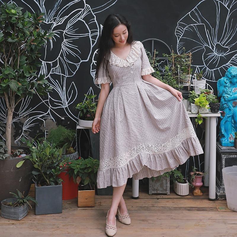 Summer Women Cotton Long Dress Fresh Vintage Striped Elegant slim Lace Irregular Ruffle Bottom Expansion Dress