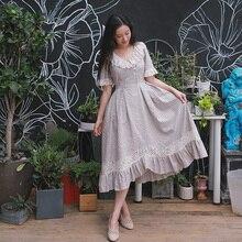 Mulheres de verão de Algodão Vestido Longo Listrado Fresco Do Vintage Elegante magro Lace Irregular Expansão Inferior Plissado Vestido sukienki