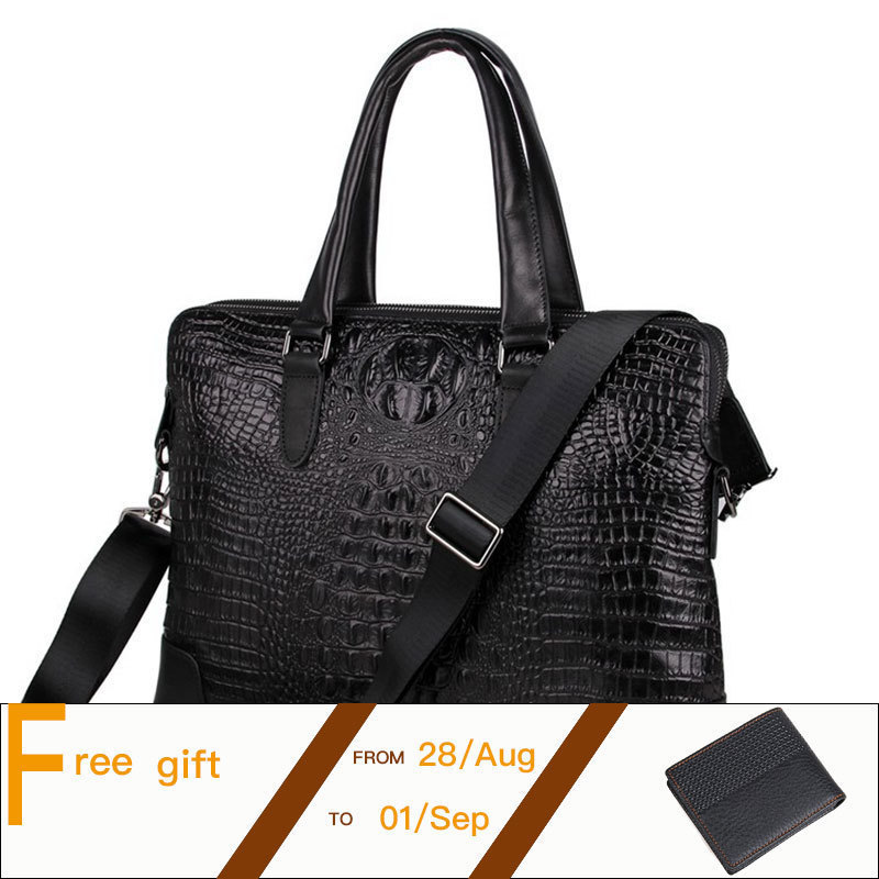 Crocodile Pattern Genuine Cowhide Two Compartments Black Men Leather Briefcase Business Handbag Fit for 15 Inch Laptop PR577276 top layer genuine cowhide coffee classic men s leather briefcase business handbag fit for 15 laptop bag pr577247b 1