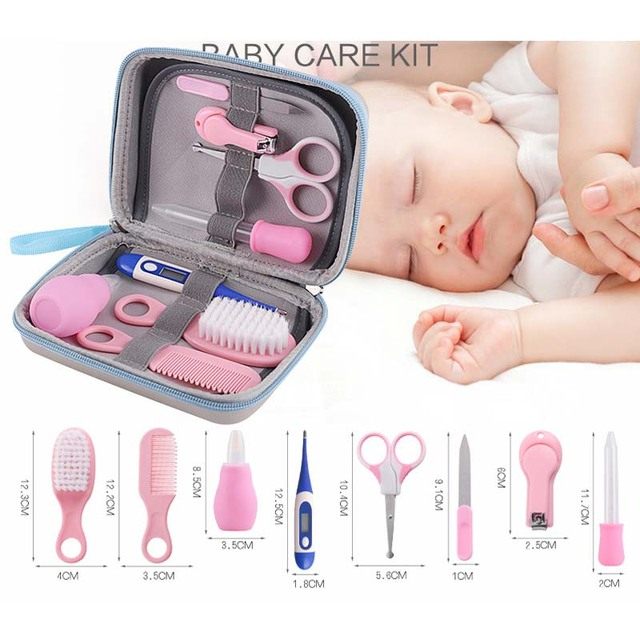 8Pcs Baby Grooming Health Care Manicure Set Baby Nail Care Practical Clipper Trimmer Convenient Daily Baby Hair Brush Care Kits