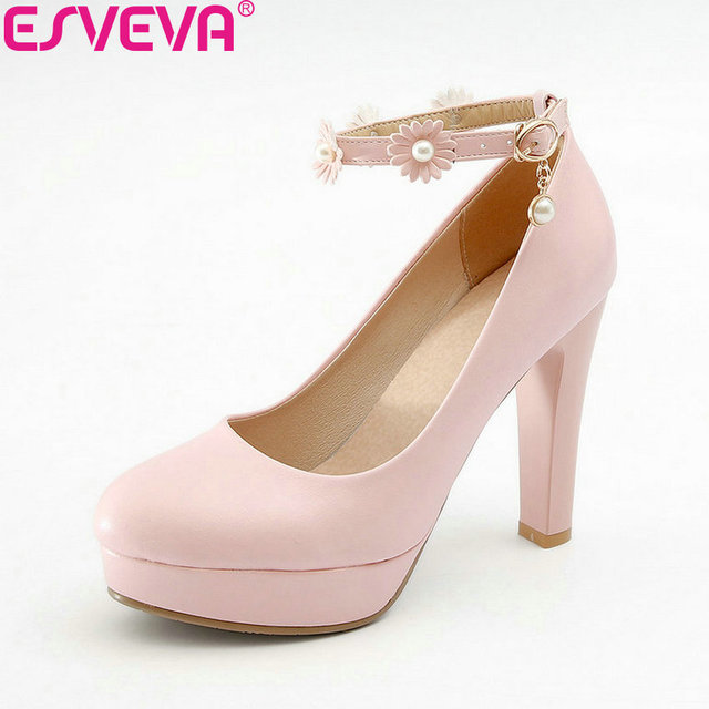 ESVEVA 2018 Women Pumps Buckle Flower PU Sweet Style Round Toe Square High Heels Platform 3cm Pumps Ladies Shoes Size 34-43