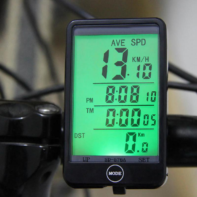 Water-resistant Multifunction Wired Cycling Bike Bicycle Computer Odometer Speedometer Touch Button LCD Backlight Backlit 1 lcd water resistant bike computer odometer speedometer black red 1 x cr2032