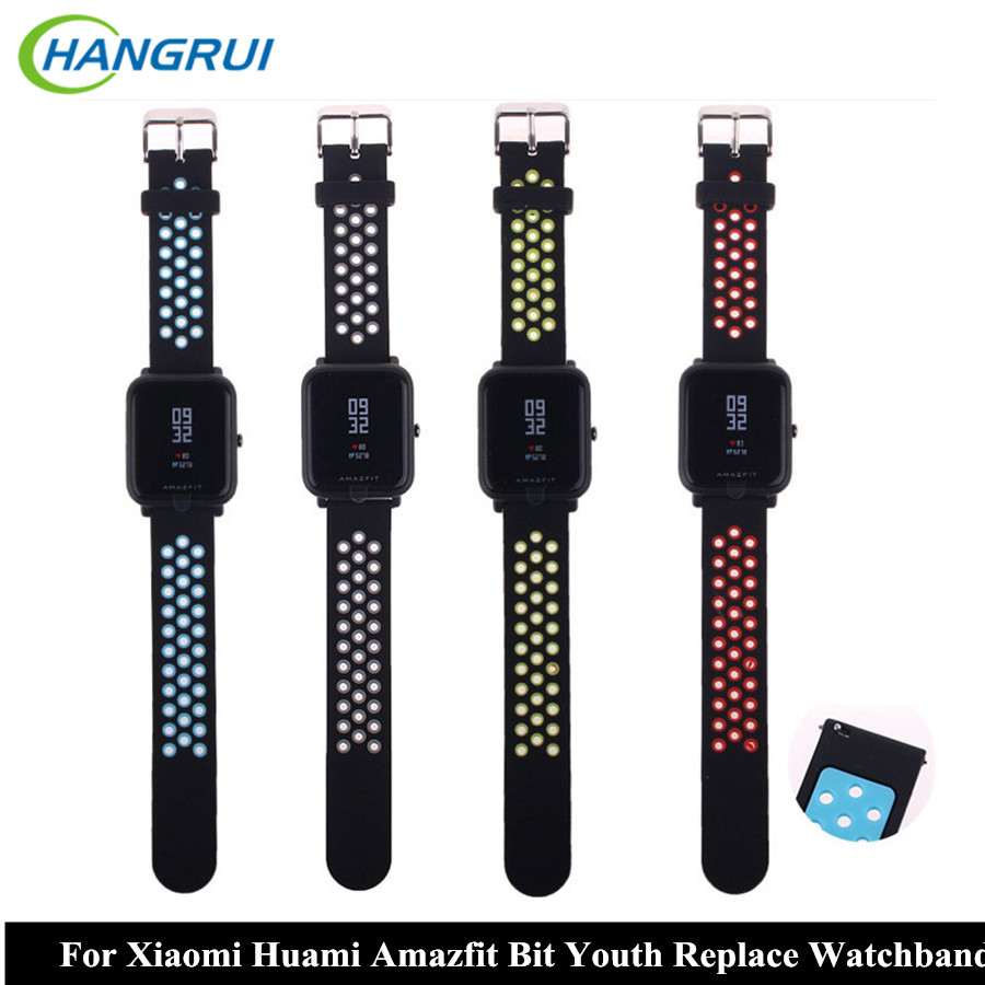 HANGRUI Silicone Strap For Xiaomi Huami Amazfit Bip BIT PACE Lite Youth Smart Watch Band for Huami Amazfit youth bracelet strap
