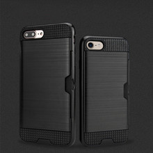 Luxury Card Holder Wallet Phone Case for iphone 7 6S 6 8 Plus Hybrid Brushed Shockproof Armor Cover X XS 5 5S SE