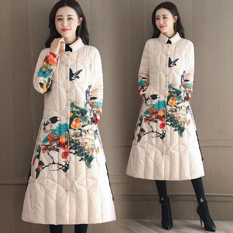 Plus Style Élégant Fleur Ethnique Mode Femme De Hiver Femmes Manteaux Chaud La Picture Q809 Vintage Épaissir Manteau Imprimer Longue Veste Color Taille Pn7PYrwq