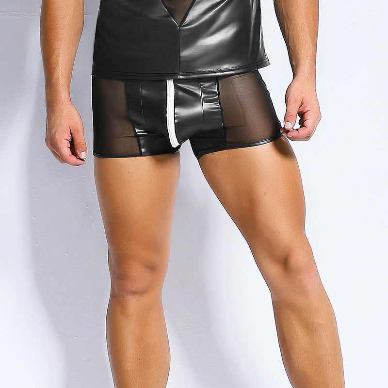 8cf7bcc3c4c Hot Sexy Lingerie Men s Black Tight Leather Latex PVC Stitching Slim Shorts  Zip Pouch Nightclub Gay