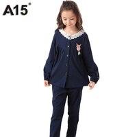 A15 Crianças Meninas Pijamas Pijamas Set Baby Girl Pijamas Sleepwear Roupas de Inverno 2017 de Natal Pijamas para As Meninas Princesa 3 16Y