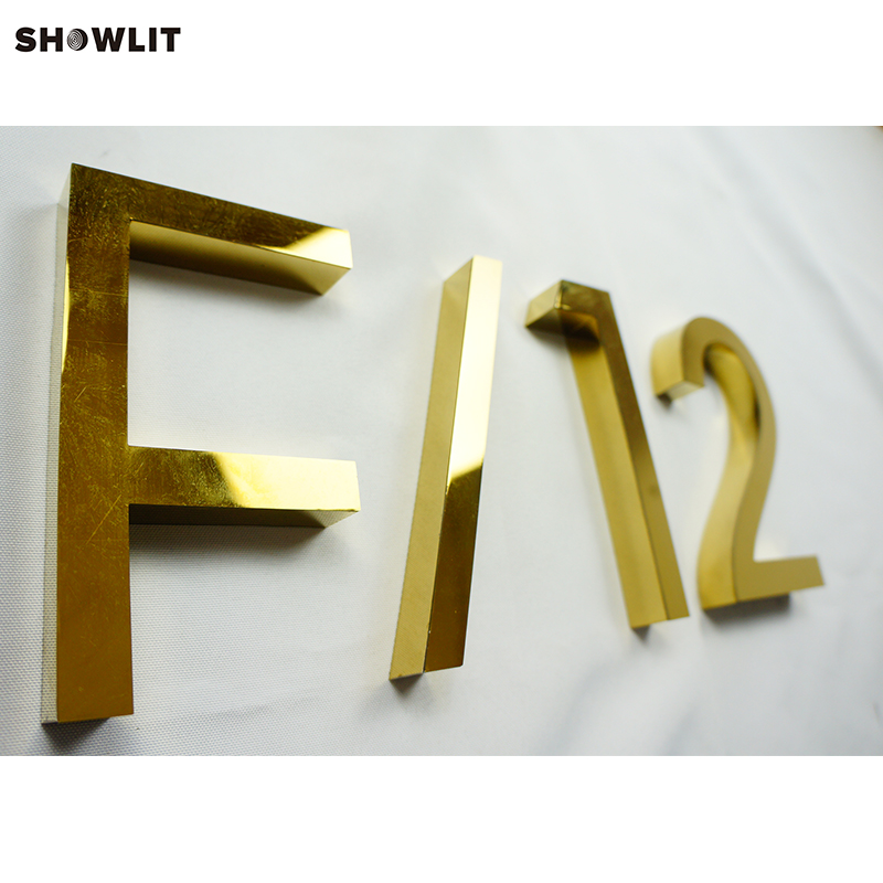 Lettres d'adresse en métal 3D en laiton chromé poli sur mesure de 12''