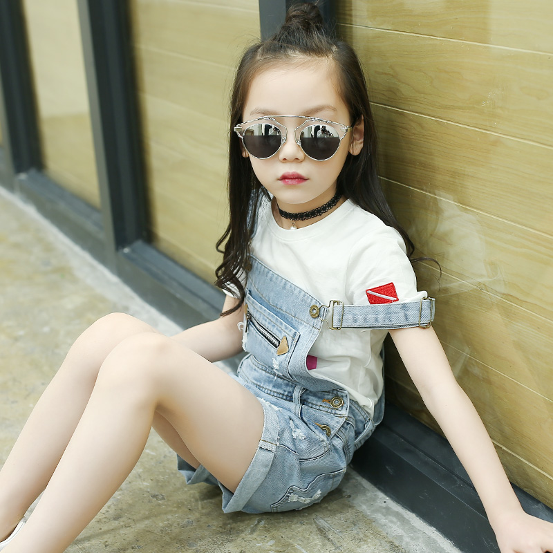 Teenager Girls Fashin Clothes Set Summer School Wear 2017 4-15y Short Sleeve T Shirt + Overalls Jeans 2pcs Children Clothing 2016 fashin reversible skullies