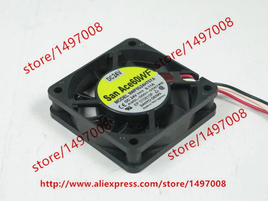 Free Shipping For SANYO 9WF0624H707A A90L-0001-0567#B DC 24V 0.11A 3-wire 3-pin connector 50mm Server Square Cooling Fan free shipping for delta afc0612db 9j10r dc 12v 0 45a 60x60x15mm 60mm 3 wire 3 pin connector server square fan