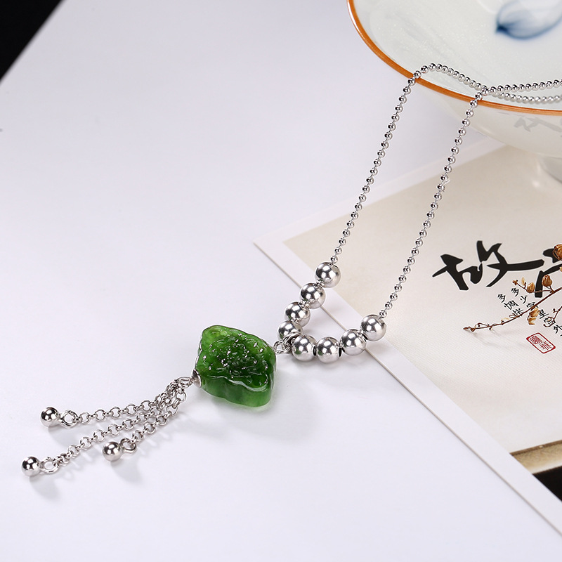 Natural Gemstone Necklaces & Pendants For Lady Women 925 Silver Long Chain Necklace Chokers Jewelry bijoux femme
