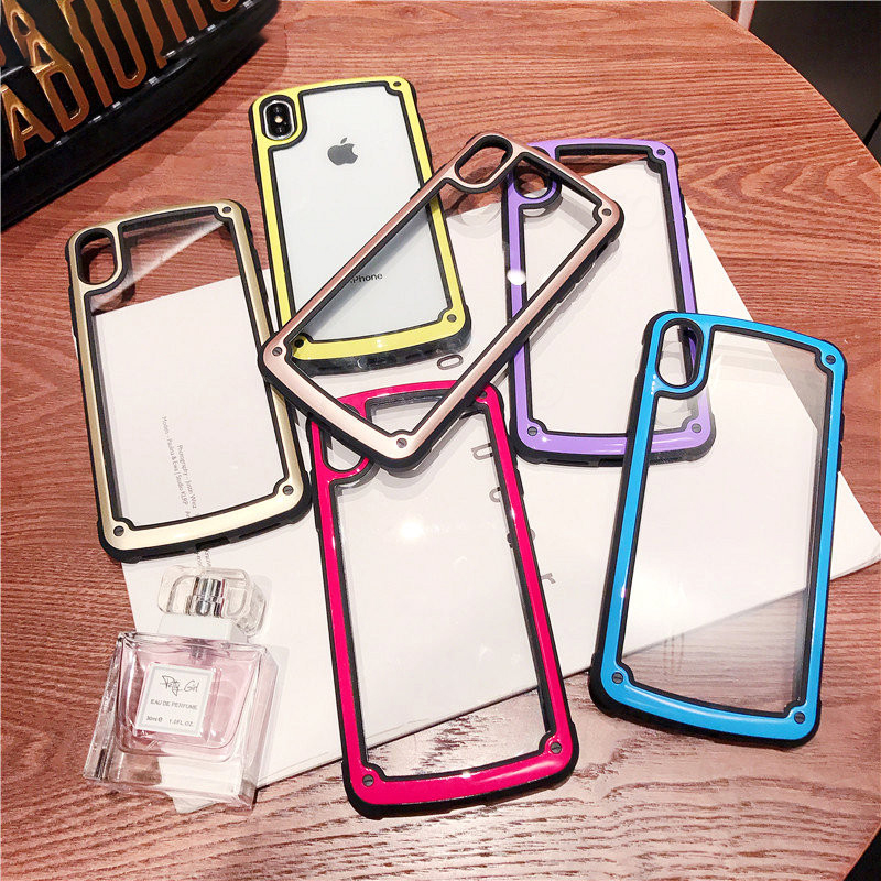 Cute Solid Color Border Phone Case For iphone X XS XR XS Max 6s 7 8plus Fashion Couple Anti fall Transparent All inclusive Capa in Half wrapped Cases from Cellphones Telecommunications