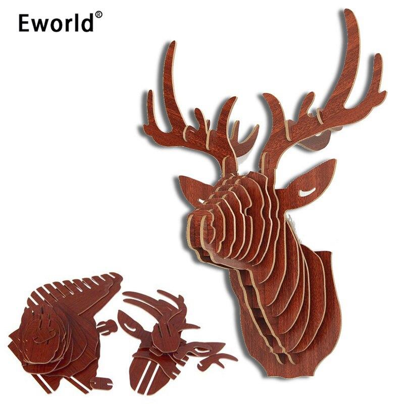 Eworld Utmärkt 3D-pussel Trä DIY Modellvägg Hängande Hjorthuvud Älg Animal Wildlife Sculpture Figurer Presentkonserver Heminredning