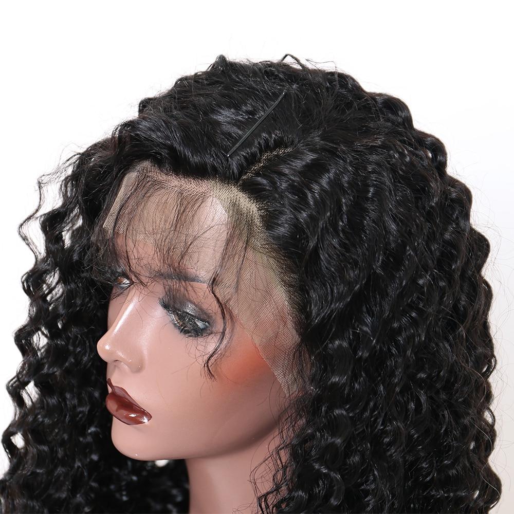 곱슬 머리 레이스 프런트 인간의 머리 가발 여성용 - 인간의 머리카락 (검은 색) - 사진 4
