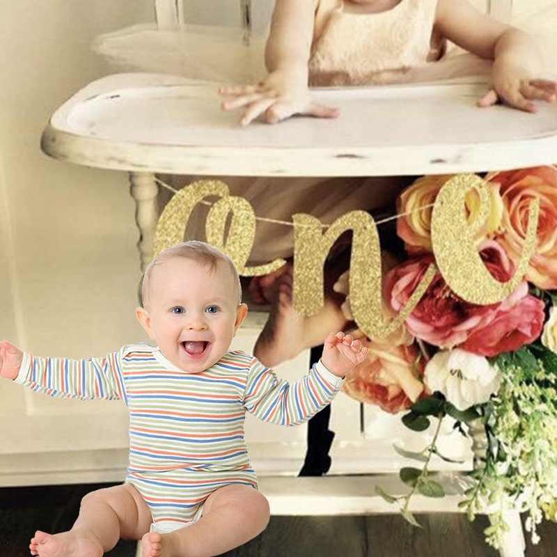 1 เซ็ต Creative Glitter หนึ่ง Banner Girl Boy 1st วันเกิดเก้าอี้อาบน้ำเด็ก Prince Princess Party อุปกรณ์ตกแต่ง