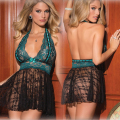 AFUMAN Hot Sexy lace halter nightdress luscious backless lingerie perspective deep V temptation charming underwear Mini Dress