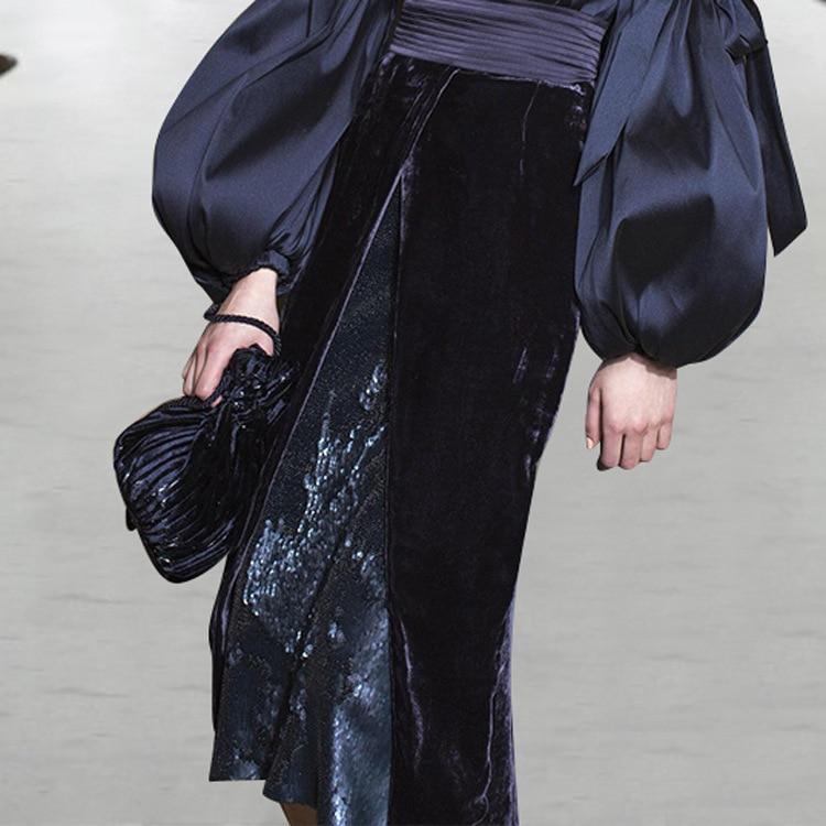 Grande Mode Rond Popeline Femelle Vêtements Femmes Bouse 2018 Ol Arc Deat Automne Manches Col Plissé Black Outfit Wb62601xl De Nouvelles Lanterne WOF8nqI