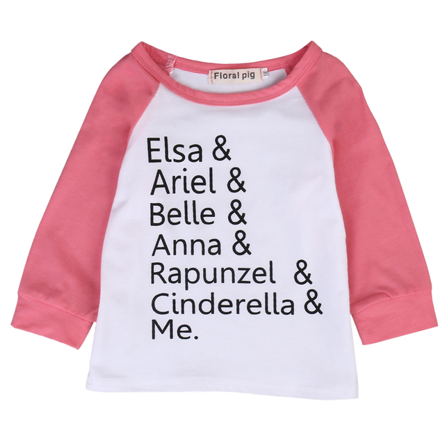Cute Toddler Kids T Shirt 2017 New Elsa Anna Print Long Sleeve Baby Girls TShirt