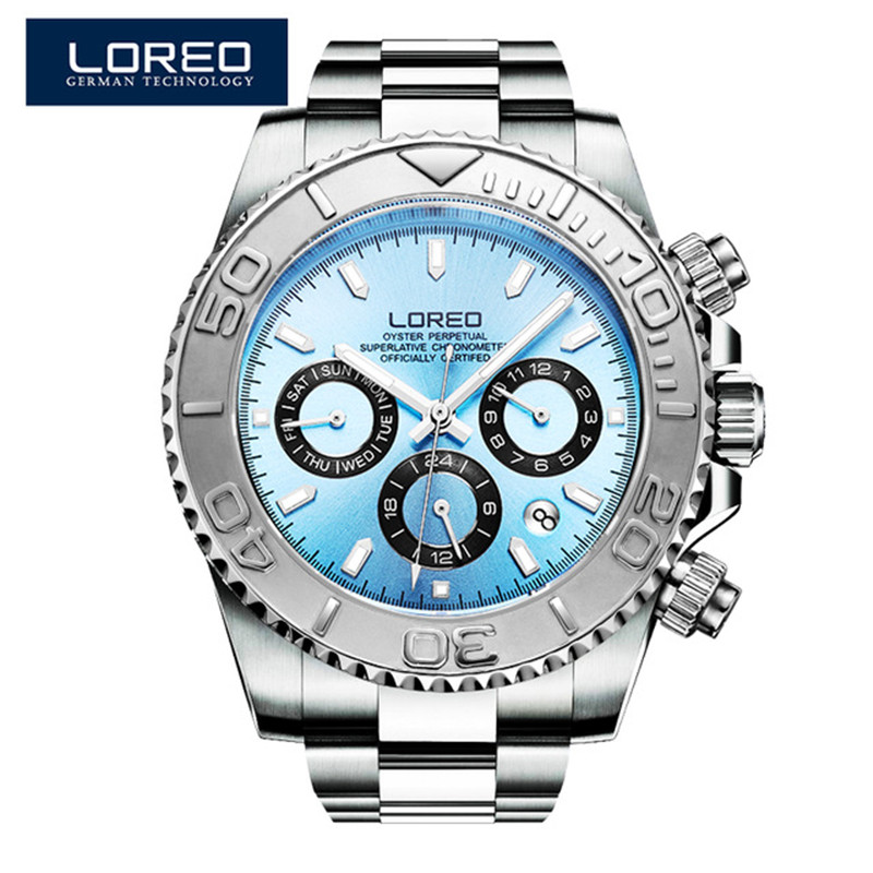 LOREO Men's Mechanical Automatic Watch Stainless Steel Strap Auto Date Calendar Business Noble Fashion Luminous Watches P02 favourite бра picturion