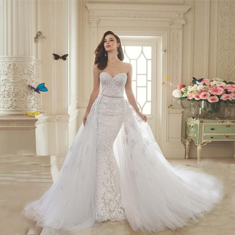 Sexy Removable Long Train Gorgeous Bridal Gowns 2016 Appliques Crystal Beading Sweetheart Tulle Lace Beach Wedding