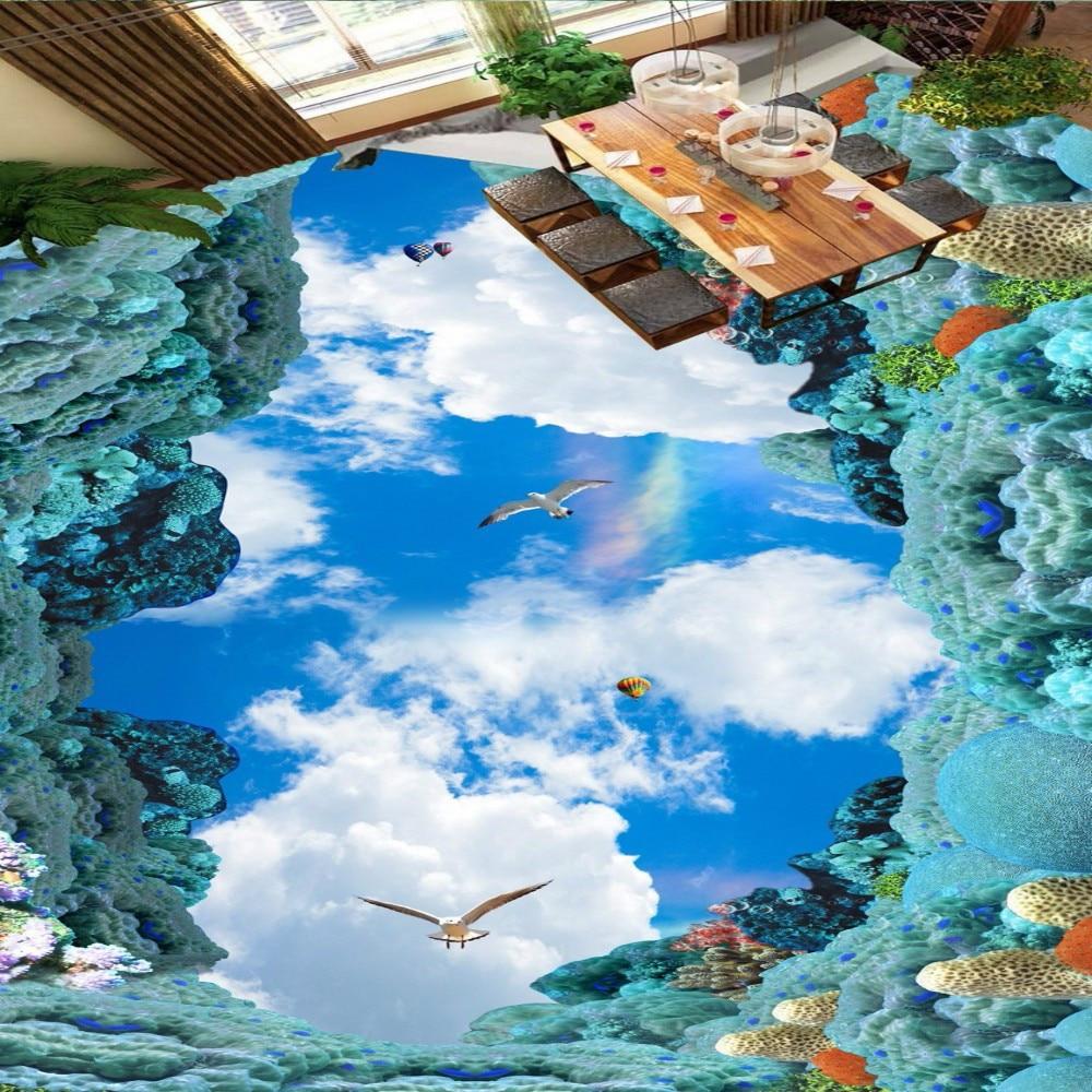 Free Shipping Ocean blue sky white clouds bird 3D floor sticker bathroom kitchen nature scenery floor wallpaper blue sky чаша северный олень