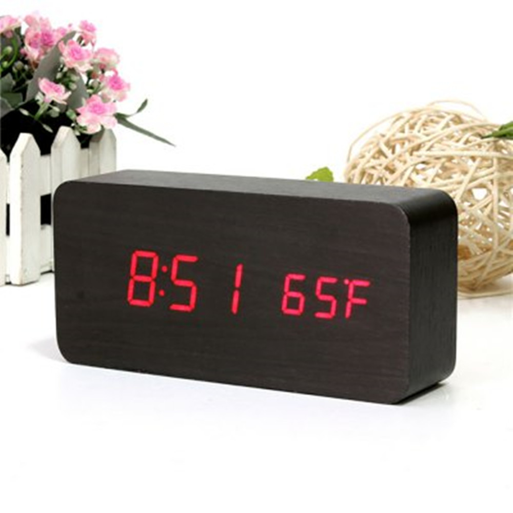 aj led wooden alarm fashion modern four colourful clock time  - aj led wooden alarm fashion modern four colourful clock timetemperature week calendar display for home officein alarm clocks from home garden on