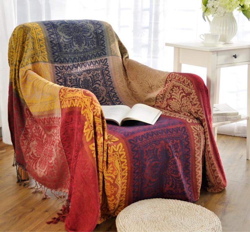 Bohemian chenille blanket sofa decorative slipcover throws - Plaids para sofas ...
