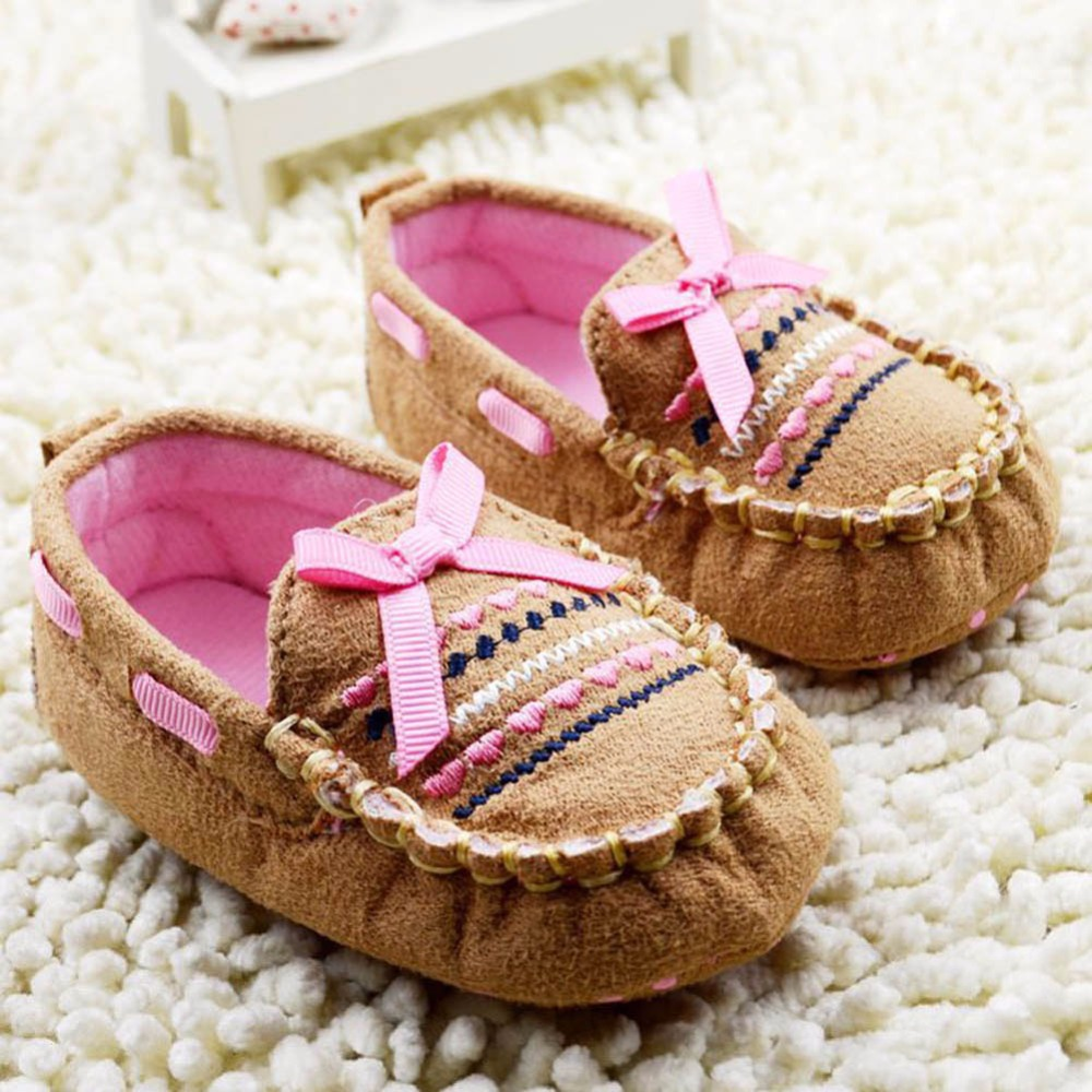 Infant 0-18M Baby Toddler Boy Girl Bow Brown Soft Sole Handmade Crib Shoes