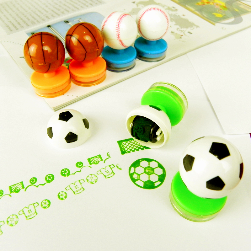 6Pcs Decorative Cartoon Rubber Football Stampers Plastic Kids Children Toys Self-Inking Lovely Sport Scroll Drawing Tools