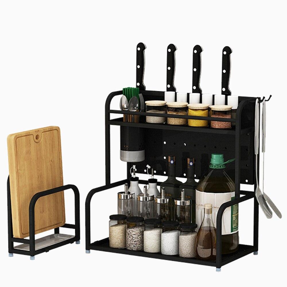 Black stainless steel kitchen rack floor double-layer storage household space knife holder seasoning spice rack wx8141740
