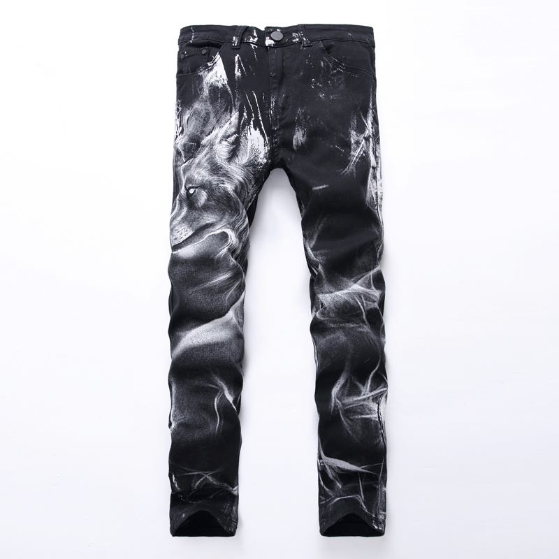 The Trend of Men s Personality Wolf Head 3D Pattern Printing Elastic Slim Jeans Youth Painted Flower Pants Black