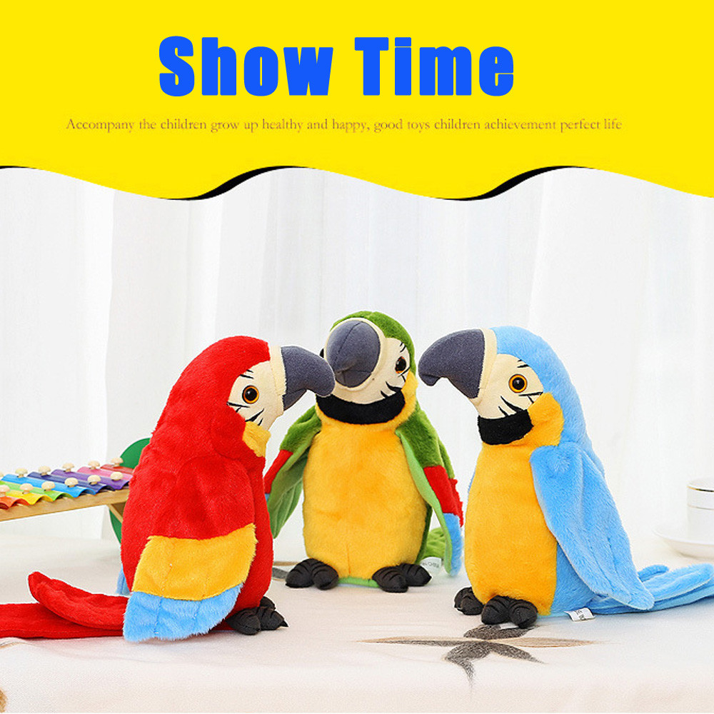 Adorable Speak Talking Toys Record Repeats Waving Wings Cute Parrot Stuffed Plush Toys gift for kids child A1