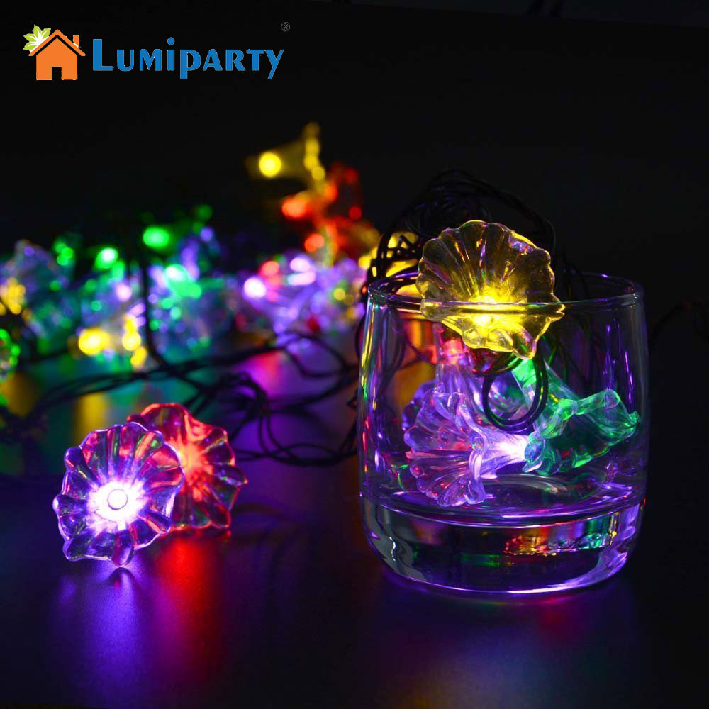 Lumiparty Solar String Lights 20 LED Morning Glory Flower Solar Fairy String Light for Outdoor Christmas Holiday Decoration